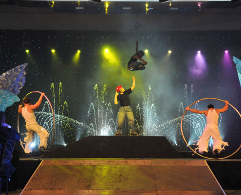 A corporate employee awards dinner turned into an extreme entertainment evening with skateboarders, BMX bikers and Dancing Waters as a backdrop.