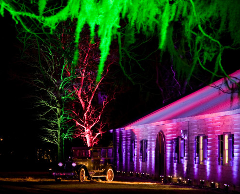 Outside lighting set the stage for a fun night at a sales incentive trip in Charleston, South Carolina.