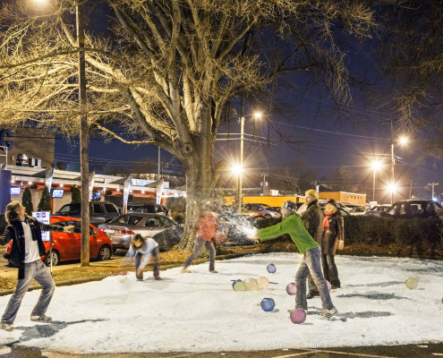 Being in the Carolinas, we didn't want to wait for Mother Nature so we converted a dentist's office parking lot into our own snow playground (yes with real snow).